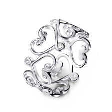 925 Sterling Silver Hollow Out Heart Thumb Ring Chic Filigree Flower Ring UK Q