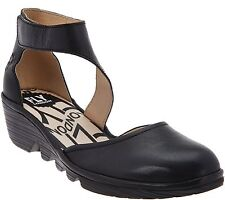 FLY London Leather Closd Toe Heel Strap Sandals Black 37=6.5-7US NEW a274274