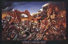 FANTASY POSTER~Chris Achilleos Red Arch Battle At Field Vikings,Goblins,Gargoyle