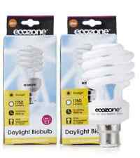 ECOZONE BIOBULB ENERGY-SAVING DAYLIGHT BULBS x2 Screw Cap E27 25W 100W Equiv.