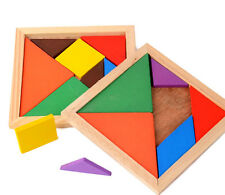 Color Wooden Tangram Brain Puzzle Kids Toys Set Baby Early Learning