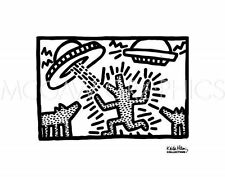 POP ART PRINT Untitled, 1982 (dogs with UFOs) Keith Haring 10x7