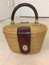 Mister Ernest VINTAGE Nantucket Wicker Basket Purse w/ Leather Handle Accents