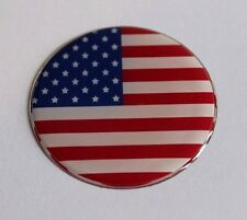 USA STARS AND STRIPES FLAG 50mm Sticker/Decal WITH  HIGH GLOSS DOMED GEL FINISH