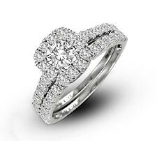 Certified 100% 14K White Gold Halo Diamond Engagement and Wedding Ring Set .50ct