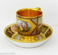 ROYAL VIENNA PORCELAIN GOLD WASHED CUP & SAUCER EARLY 19th CENTURY