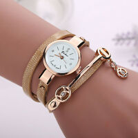 Fashion Womens Watch PU Leather Gold Bracelet Analog Quartz Wrist Watch 8 Colors