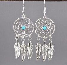 Silver dream catcher earrings dangle feather turquoise center bead lightweight