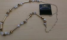 BNWT-Accessories-Long-Stone and Gold Tone Beads on Chain Necklace-Drop 38 cm
