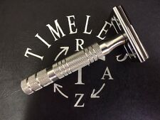 Timeless Razor: Stainless Steel DE Safety Razor solid bar head, handle and stand