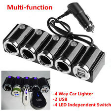 Dual USB Port 4 Way Car Cigarette Lighter Socket Splitter 12/24V Charger Adapter