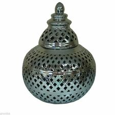 Moroccan Large Silver Chrome Ceramic Lantern Tea Light/ Candle Holder Home Decor