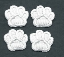 Lot of 4 White Dog Animal Paw Print Embroidery Patch