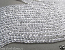 "13"" strand AAA CRYSTAL QUARTZ faceted gem stone rondelle beads 3.5mm clear"