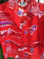 Hilo Hattie Hawaiian Aloha Medium Crop Tie Front Shirt Red Palms Hawaii Vintage