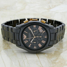 EMPORIO ARMANI CERAMICA AR1410 Rose Gold Chronograph Black Dial Ceramic Watch @@