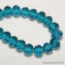 49pcs Peacock Blue Faceted Rondelle Loose Crystal Glass Bead 6x4mm Fit Bracelet