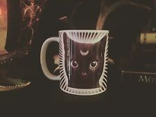 MOON KITTY COFFEE MUG!! black cat psychedelic witchcraft hip occult black magic