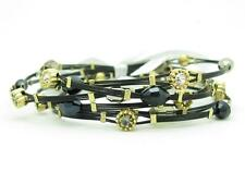 6 Gold Plated Stainless Steel Black Design Crystal Stackable Bangle Bracelets