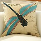 Cotton Lined Dragonfly Throw Home Decorative Pillow Cushion Cover Sofa Pillow