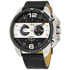 DIESEL Ironside Chronograph Black Leather Men's Watch DZ4361 - 2 Years Warranty