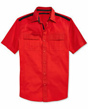 Sean John Men's Short-Sleeve Fiery Red Solid Twill Button Front Shirt, X-Large