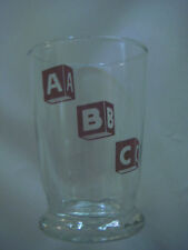 "VINTAGE LIBBEY A B C CHILDS 4"" CLEAR DRINKING GLASS ALPHABET RED BLOCKS ABC 6 OZ"
