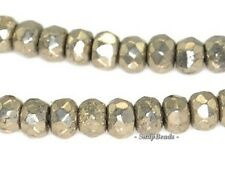 3X2MM PALAZZO IRON PYRITE GEMSTONE FACETED RONDELLE 3X2MM LOOSE BEADS 15.5""