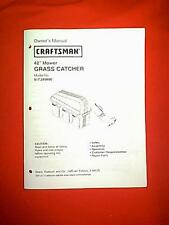 """CRAFTSMAN 42"""" GRASS CATCHER TRIPLE BAGGER 917.249890 OWNER'S WITH PARTS MANUAL"""