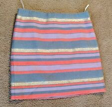J Crew Womens Gold Metallic and Multicolor Striped Slim Pencil Skirt Size 0