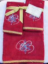 Aussino embellished blue snowflake 3 pack red towel gift set, 1 hand 2 fingertip
