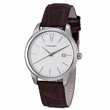 Azzaro Mens Legend White Dial Brown Leather Strap Quartz Watch AZ2040.12AH.000