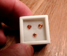 3pc Dry Cottonwood Creek Montana Natural Orange Sapphires. Cut by me :) 1.25tcw