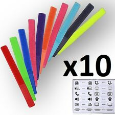 10x Stick Cable Ties 180 x 20mm Fisual Chunky Reusable Hook & Loop Cable