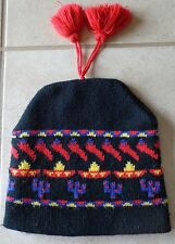 Vintage Winter Ski Hat Black Red Purple Cactus Pepper Southwest Mens Tassle