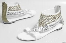 new $1500 Giuseppe ZANOTTI white gold JEWELED STUDDED CUFF shoes 38 8 - ART