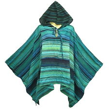 Peasant Boho Hippie Gypsy Stripe Cotton Hooded Poncho/Top  X0030S