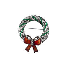 Lux Accessories Christmas Xmas Holiday Burnish Silver Stone Wreath Brooch Pin