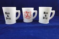 (3) 1940s MCKEE MILK GLASS PUNCH GLASSES TOM AND JERRY RECIPE BELOW