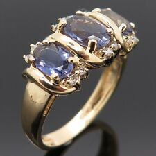 14K Yellow Gold 0.15Ct Diamond Tanzanite Ring Size 6