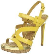 Nine West Breezin 7 M Yellow Leather Platform Pump Strappy Stiletto Sandals Used