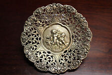 "ANTIQUE 900 STERLING SILVER REPOUSSE CHERUB ANGEL 4"" ORNATE PLATE DISH VICTORIAN"