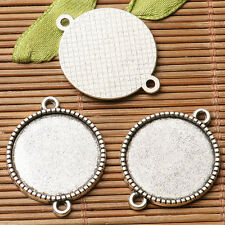 8pcs dark silver color  round  cabochon setting in 20mm connector design  EF3266
