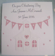 Personalised handmade Christening/Baptism chapel card girl or boy