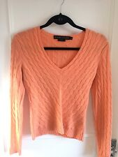 Ralph Lauren Black Label ladies orange peach cashmere cable jumper S UK 8
