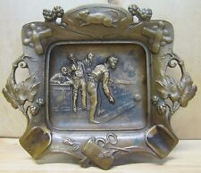 Antique Bronze Saloon Bowling Cigar Ashtray Rat Pins Ball Tankard ornate tray