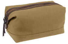 toiletry travel dopp bag canvas with leather coyote brown rothco 91260