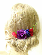 Red Purple Rose Ranunculus Carnation Flower Hair Comb Bridesmaid Headpiece 1167