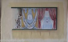 MAY GOUACHE 1950 SIGNÉ PROJET DE VITRINE POUR GRANDS MAGASINS GOUACHE DRAWING