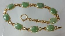 14K Yellow Gold Jade Bracelet Length 7 inches